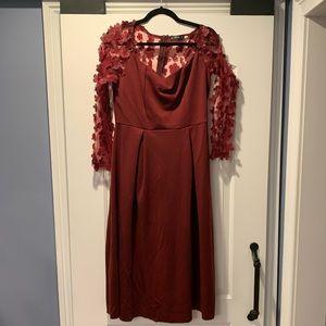 Maroon Flower Mesh Detail Dress